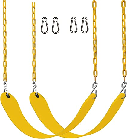 2 Pack Swings Seat with 66 Chain Plastic Coated ,Playground Swing Set Accessories Replacement with Snap Hooks and Hanging Strap Carabiners for Easy Install