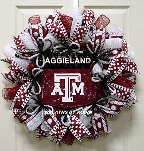 Texas College Wreaths, Texas A&M Wreaths, Deco Mesh Wreath - Item 2866