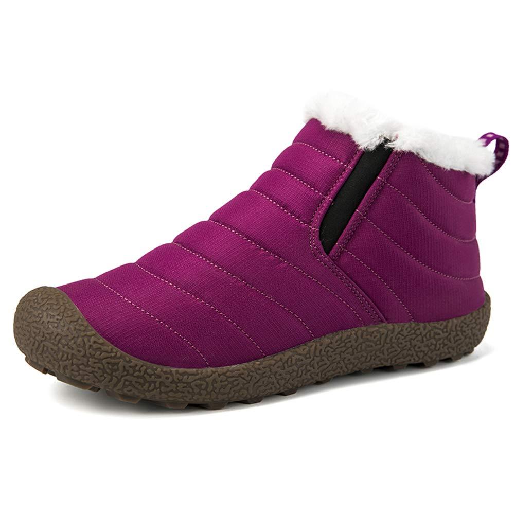 VAMV Snow Boots for Women Men Waterproof Hiking Ski Boots Fur Lined Outdoor Lightweight MT08-Purple36