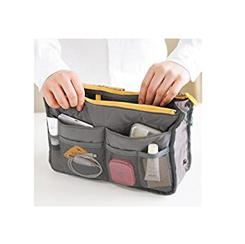 862ad42d9f84 Portable Multi-function Handbag Pouch Bag in Bag Organiser Insert Organizer  Tidy Travel Cosmetic Pocket (Gray)