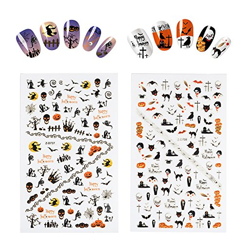 Fanme Halloween Nail Stickers 3D Nail Art Tattoo Decals DIY Nail Art Decoration Self-adhesive Tip Stickers 4Sheets (Halloween) by Fanme (Image #1)