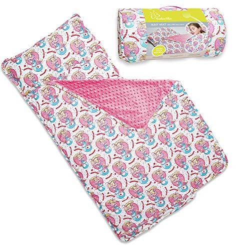 Kids Nap Mat with Removable Pillow - Soft, Lightweight Mats, Easy Clean Toddler Nap Pad for Preschool, Daycare, Kindergarten - Children Sleeping Bag (White with Mermaids Design) by Bambino Bliss