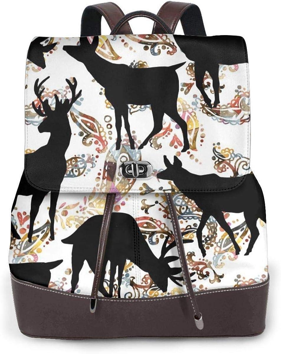 Zaino da donna Casual Borse da viaggio vintage Teen Cute Cartoon Animali Moda donna Zaino in vera pelle Borsa da viaggio per ragazze Mini Borsa a tracolla Black Deer