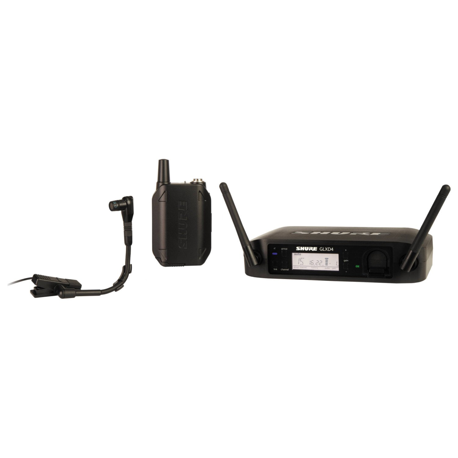 Shure GLXD14/B98 Instrument Wireless System with GLXD4 Wireless Receiver, GLXD1 Bodypack Transmitter, WB98H/C Microphone and Carrying Case by Shure