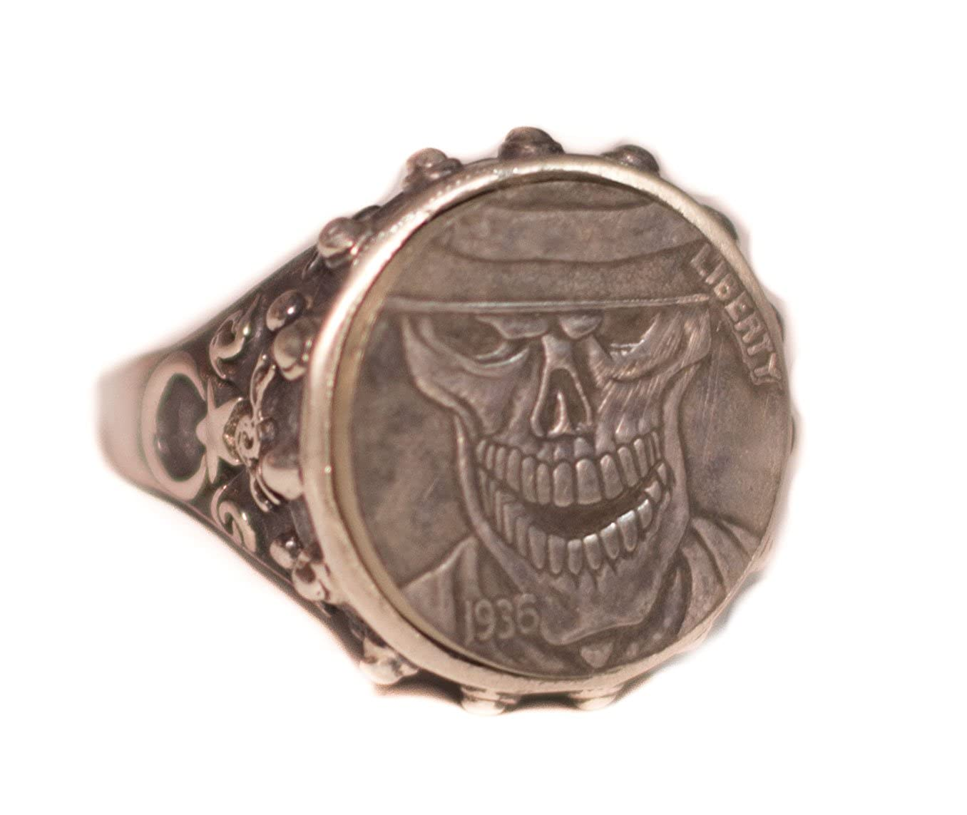 Falcon Jewelry 925 Sterling Silver Men Ring Free Express Shipping Imitation Boho Coin 925 Sterling Silver