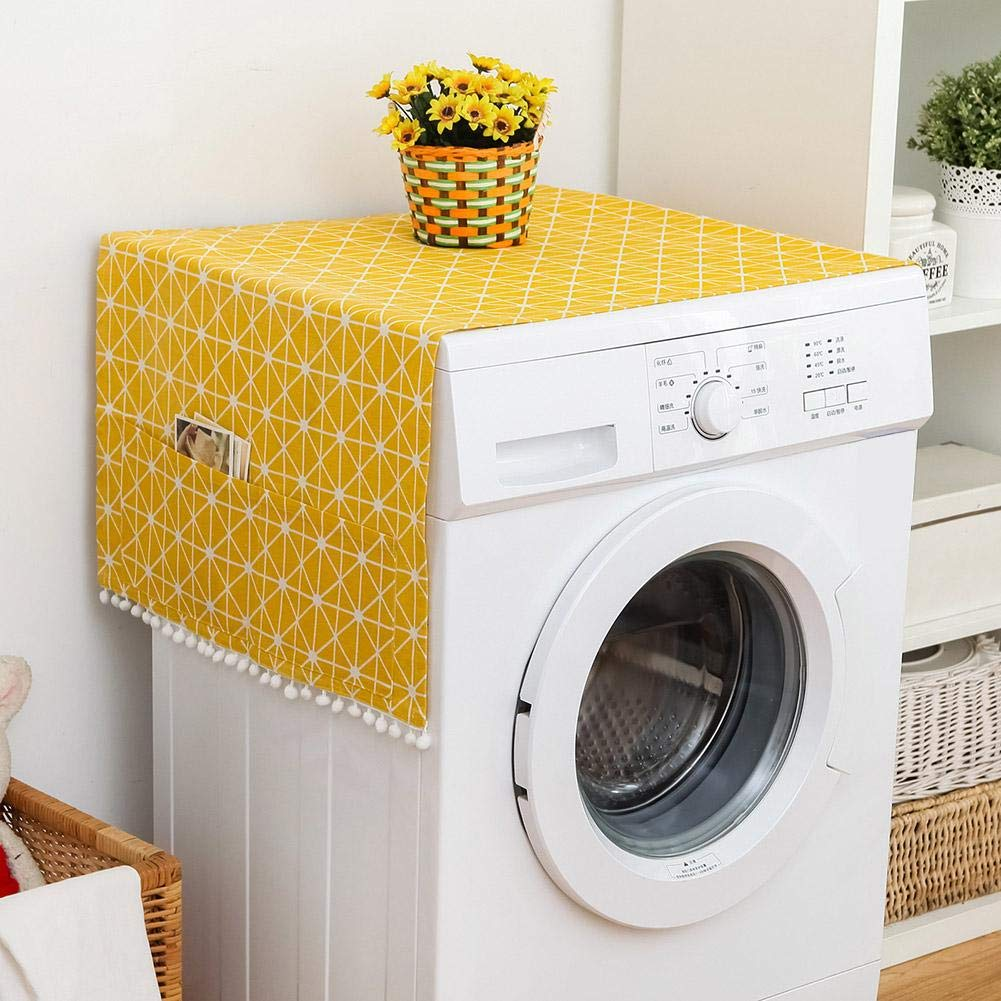 Fridge Dust Cover Multi-Purpose Washing Machine Cotton Linen Top Cover with Side Storage Pockets-Yellow White Stripes(67x28inch)