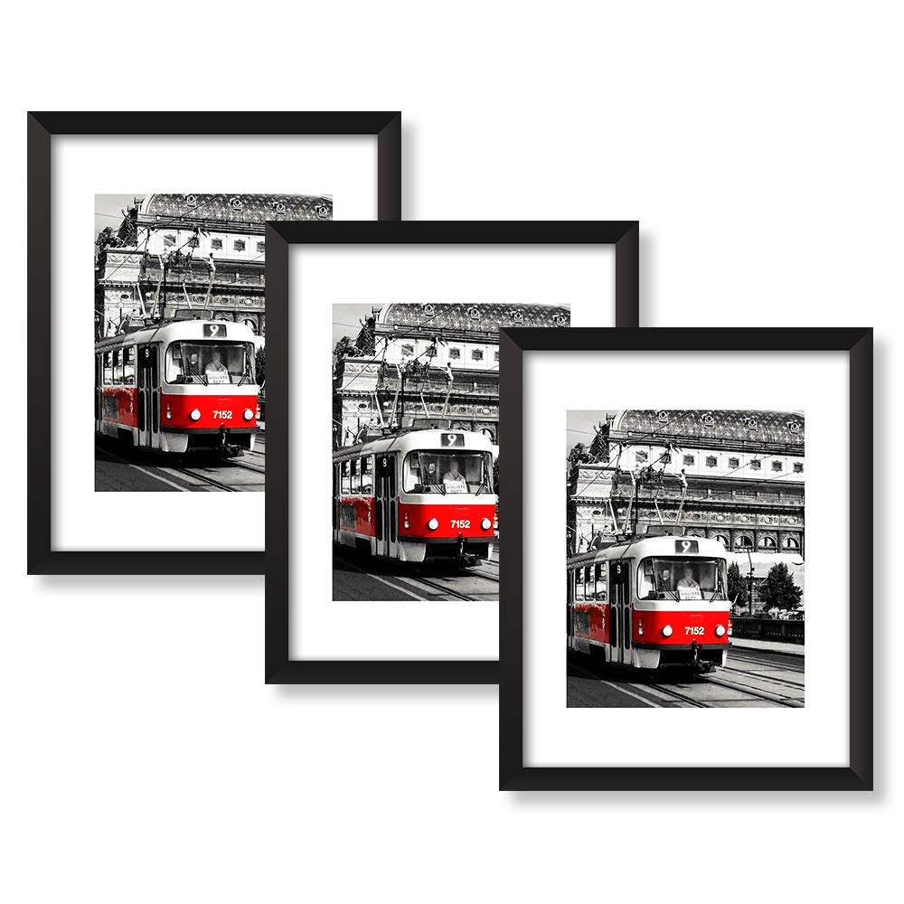 NAN Wind 11X14inch Black Picture Frames Pictures 8x10 with Mat or 11x14 Without Mat for Table Top Display and Wall Mounting Wall Mounting Material Included Set of 3 Pack