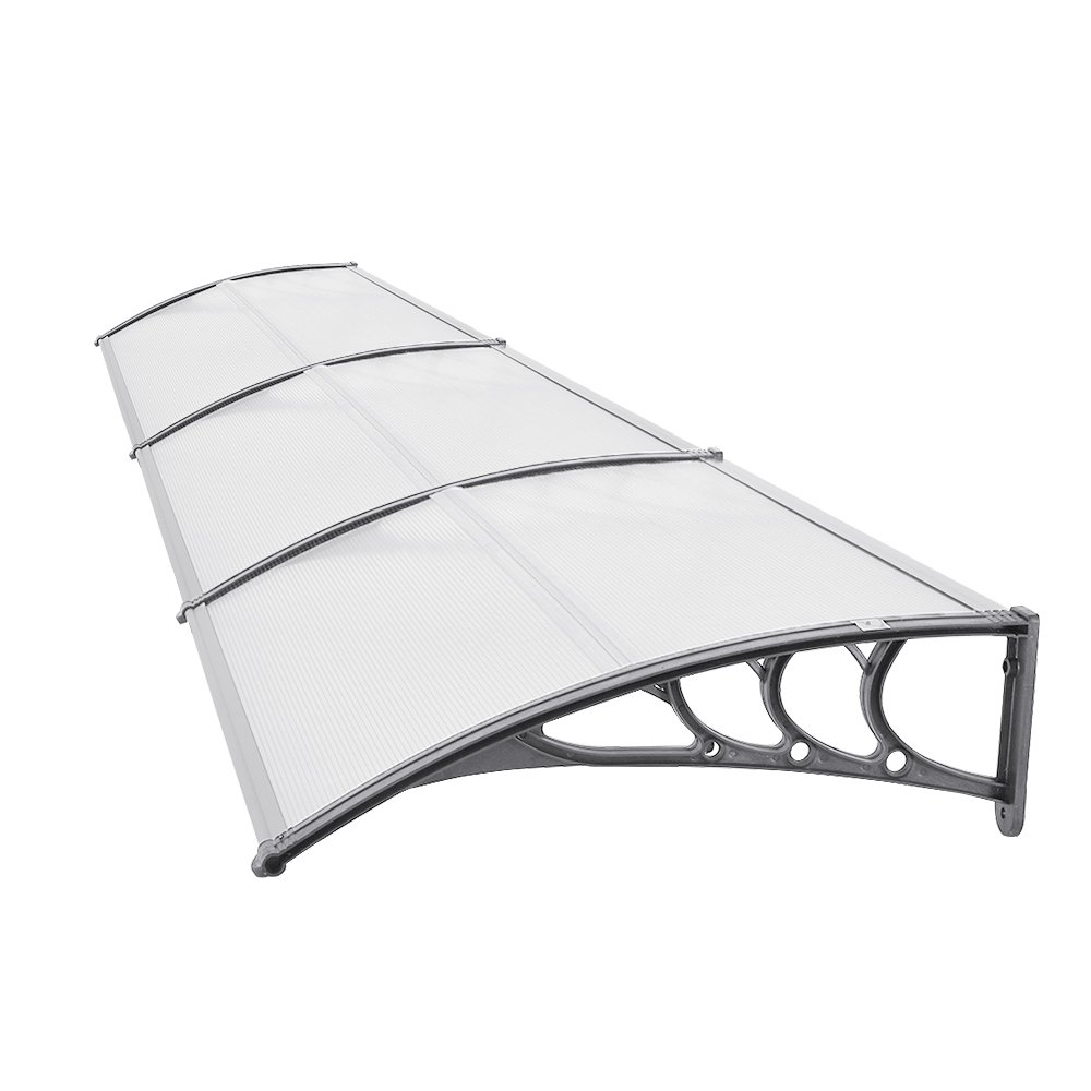 Door Canopy Awning Shelter Roof Porch Outdoor Shade Patio Rain Cover (82x240cm, Black) elevenfurniture