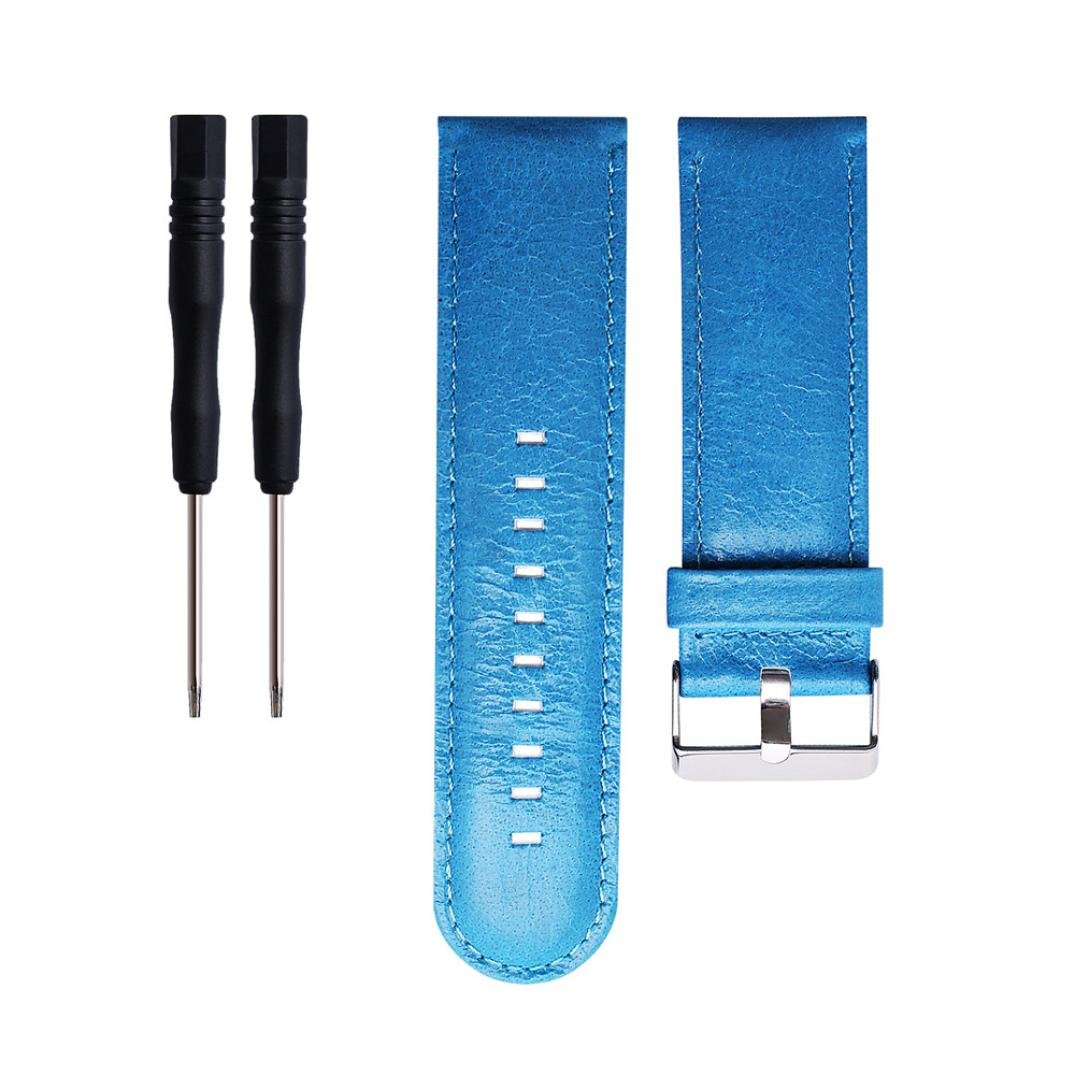 WensLTD Replacement Soft Leather Watch Band Strap + Tool For Garmin Quatix 3 / Tactix (Blue)