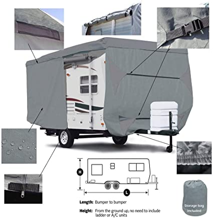 Beige, Fits 24-27Trailers Seamander RV Cover Travel Trailer Extra Thick Triple-ply Top Panel