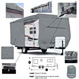 Seamander RV Cover Travel Trailer Extra Thick 4-Ply Top Panel (Grey, Fits 27'-30'Trailers)