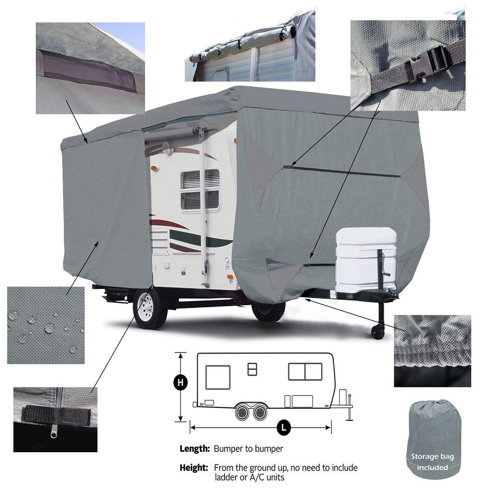 Seamander RV Cover Travel Trailer Extra Thick 4-Ply Top Panel (Grey, Fits 20'-22'Trailers) Fits 20' -22' Trailers)