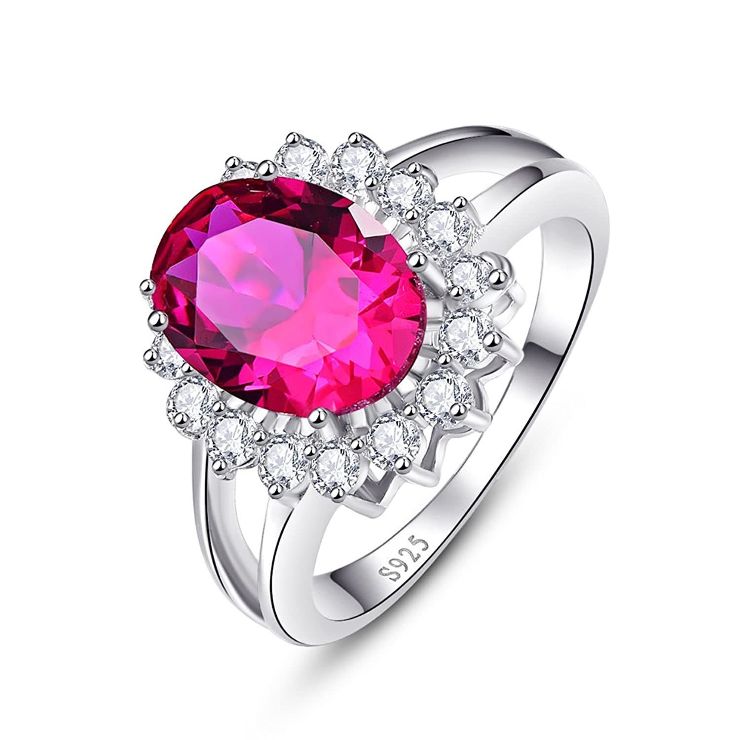 Amazon.com: BONLAVIE Women\'s 3.95ct Created Red Ruby 925 Sterling ...