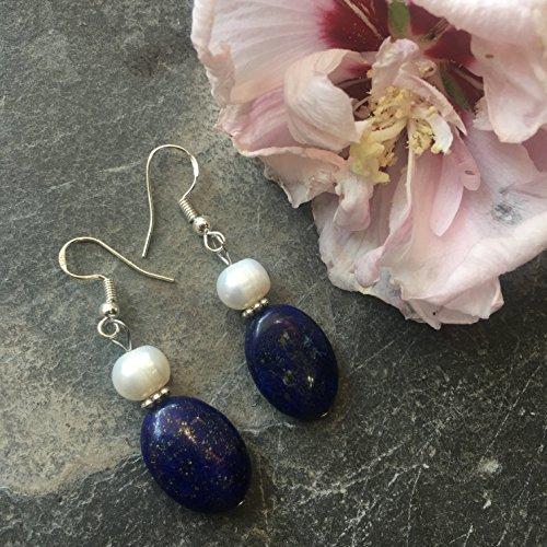 (Cultured FW Pearl Egyptian Lapis Lazuli Gemstone Genuine Silver Dangle Earrings Fashion Handmade DIY Classic Fine Jewelry for Women)