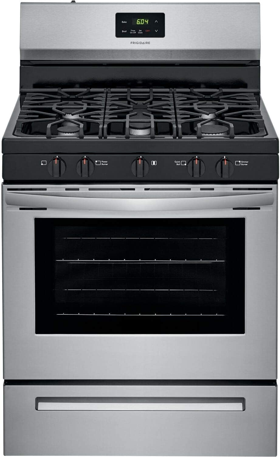 "Frigidaire FCRG3052AS 30"" Gas Freestanding Range, Cont Grates Manual Clean - Stainless"
