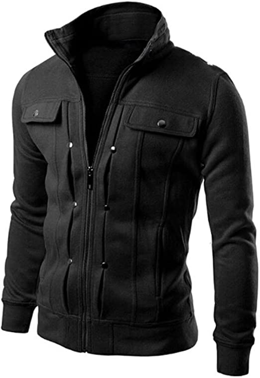 Men Winter Zip Up Slim Fit Collar Jacket Tops Long Sleeve Casual Coat Outwear