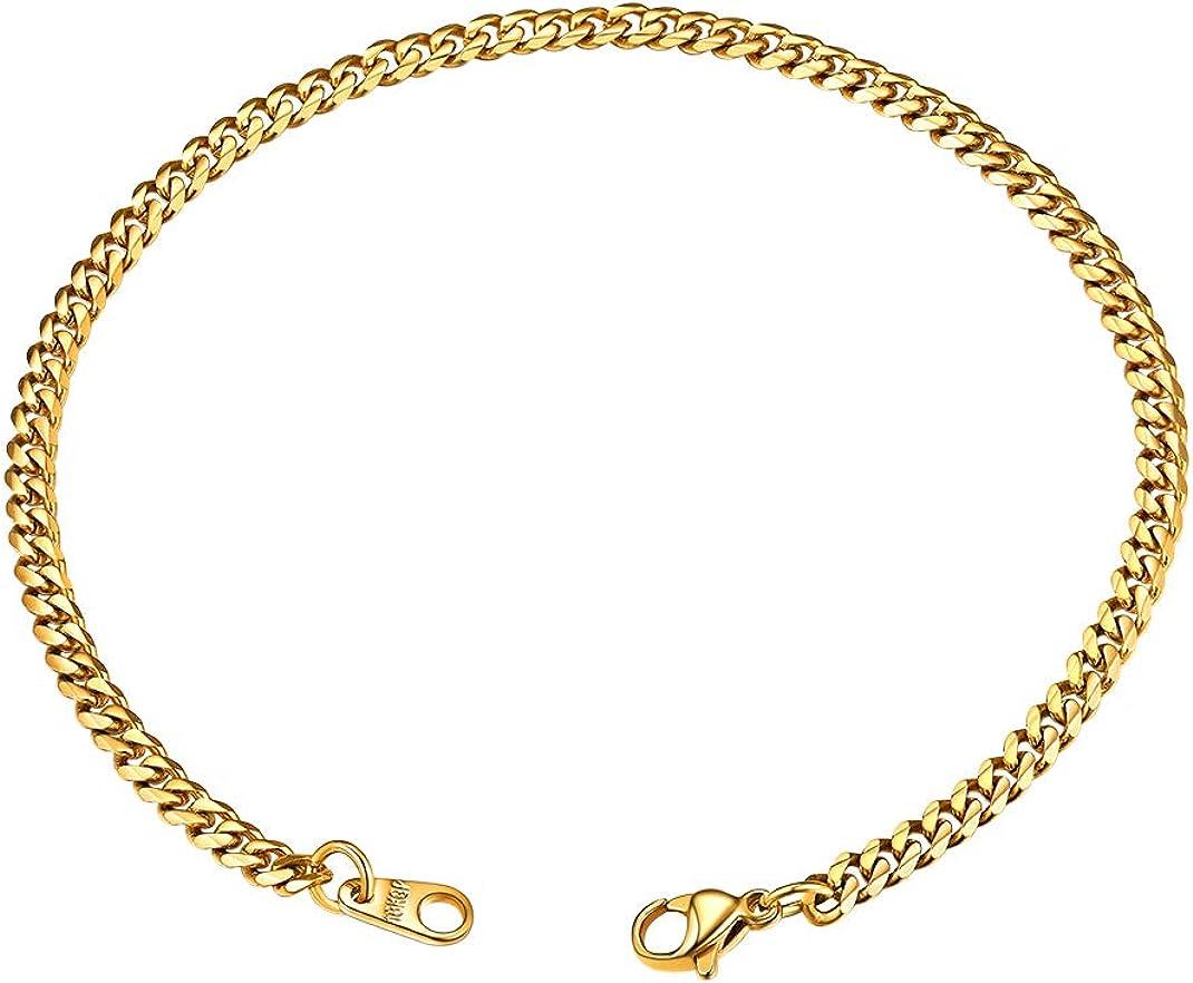 GoldChic Jewelry 21cm Pulsera Clásica de Hombre - Brazalete Pulido Cubano Miami 3mm 6mm 9mm 12mm de Ancho - Plateado Negro Dorado(18K Oro Chapado) - Gratis Caja de Regalo