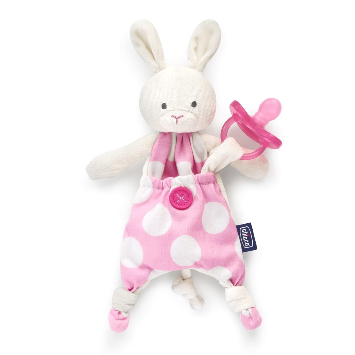 Chicco Pocket Friend - Guarda chupetes de peluche con bolsillo, rosa