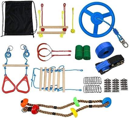 SXXJ Kit Ninja Slackline para niños, Carrera de obstáculos ...
