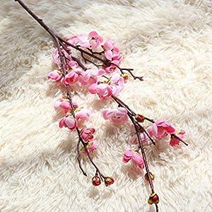 LtrottedJ Artificial Fake Flowers Plum Blossom Floral Wedding Bouquet Home Decor Pink (Pink) 2