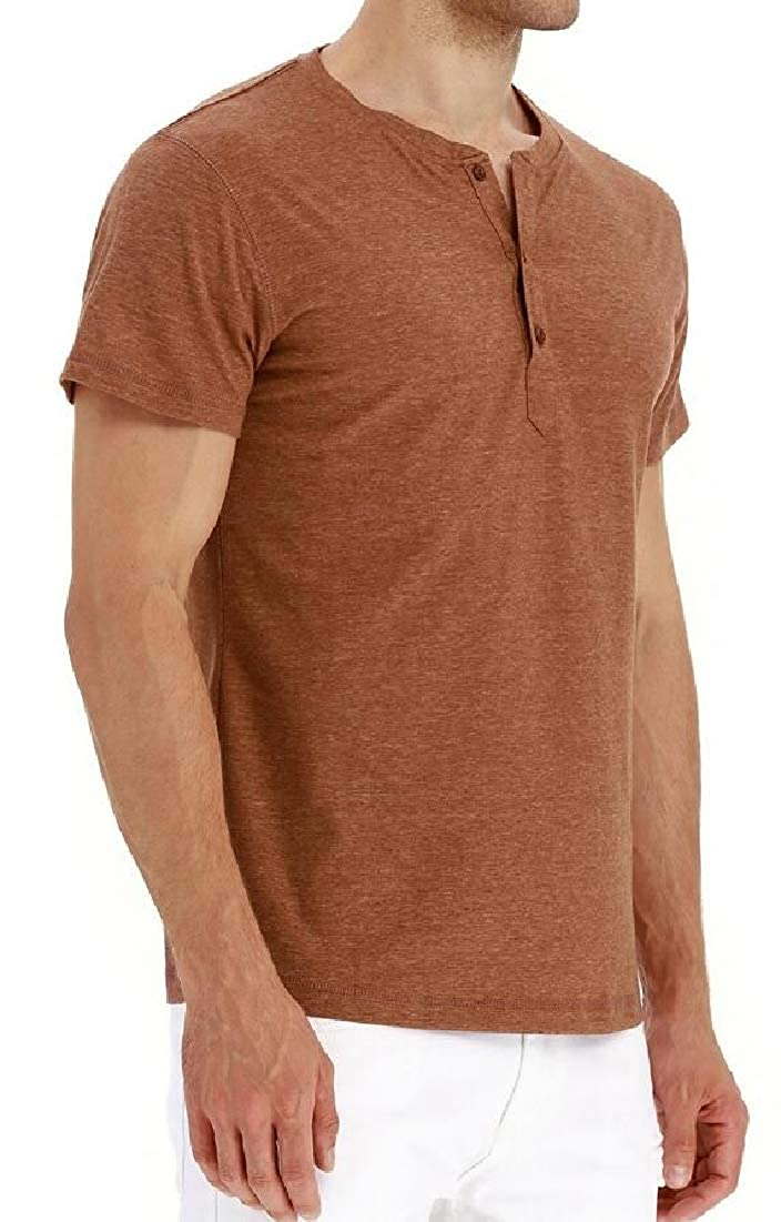 Gocgt Mens Cotton Shirts Casual Slim Fit Short Sleeve Henley T-Shirts