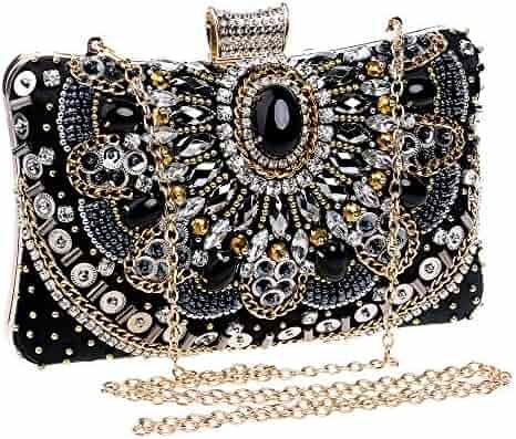 11723f02cc Beaded Embroidery Clutch Bag Women Dress Purses Evening Bag Black Crystal  Rhinestone Handbags for Wedding Party