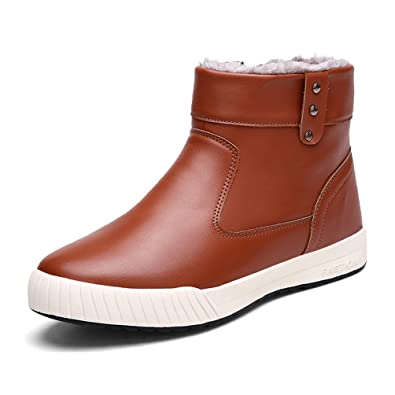 Mens Waterproof Anti-Slip Casual Snow Boots With Fully Fur Lined High Top (8 D(M) Men=10''Foot Brown)
