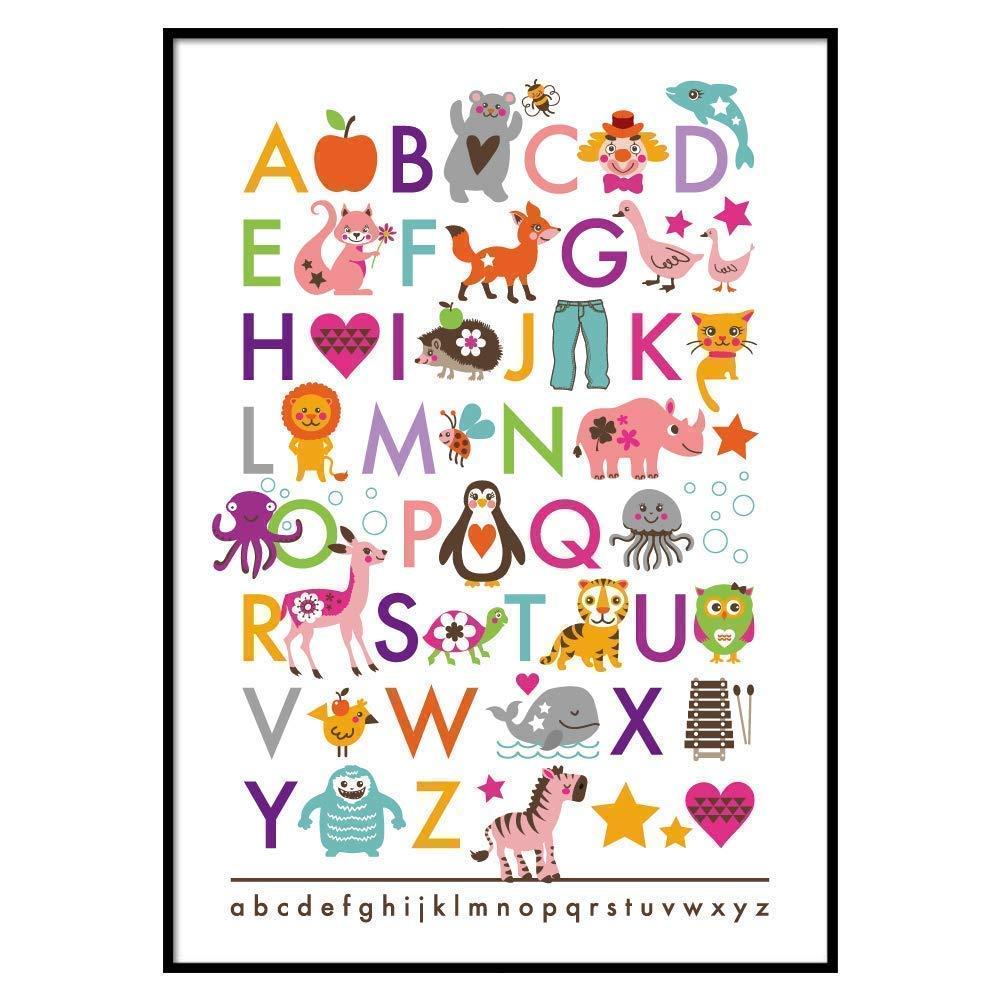 SMART ART Kunstdrucke/® Wandbild ABC Buchstaben Lernposter A4 oder A3 Wand Deko oder Geschenk Geburtstag Weihnachten