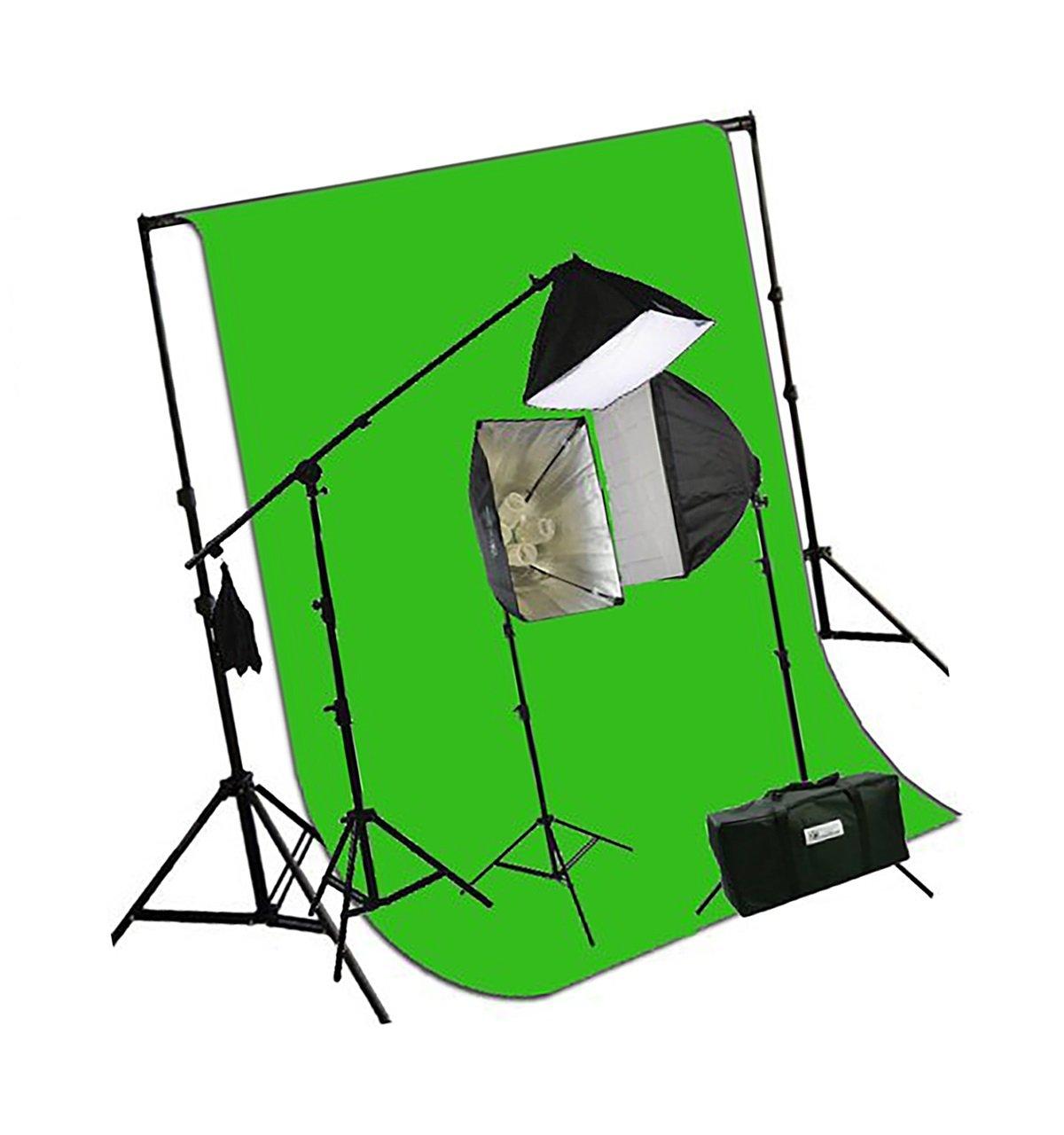 ePhotoInc 3200 K暖かい照明10 x 20 Muslin Chromakeyグリーン画面背景サポートスタンドキット2700ワットヘアライトブームスタンド写真ビデオスタジオ照明キットh604sb-1020g 3200 K   B00CRQPR26