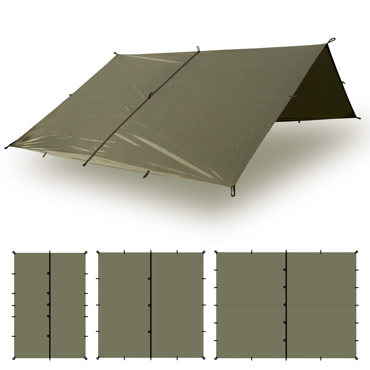 Aqua Quest Defender Tarp - 100% Waterproof Heavy Duty Nylon Bushcraft Survival Shelter - 10x7 Olive Drab by Aqua Quest
