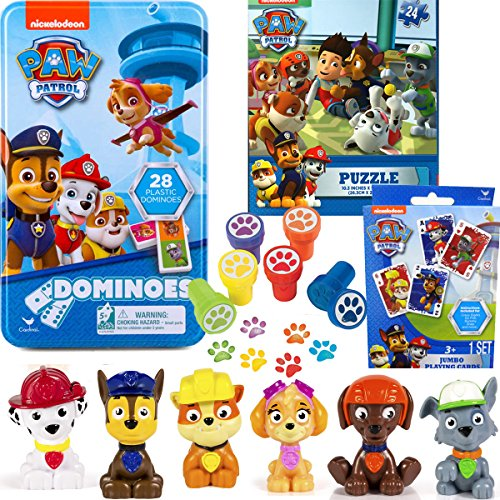 Paw Patrol Game Bundle with Figures and Stampers, Including Dominoes, Jumbo Playing Cards, Puzzle, 6 Mini Figures, and 6 Paw Stampers