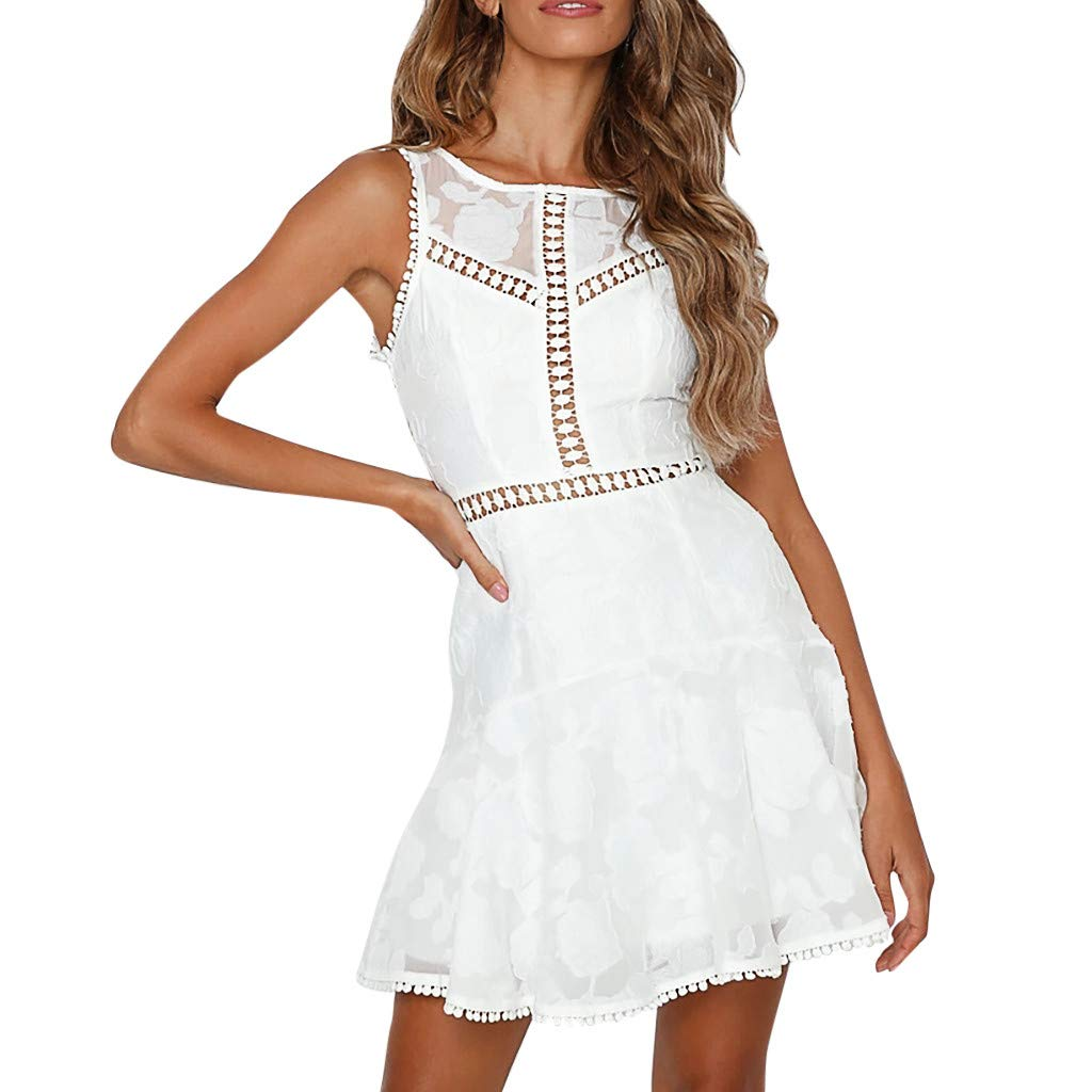Sunday Damen Spitzenkleid Elegant Kleid Ärmellos Sommerkleid Slim Ballkleid Strandkleid Party Kleid Rückenfrei Abendkleid