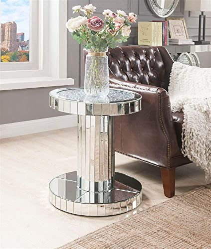 ACME Furniture End Table, Mirrored and Faux Stones