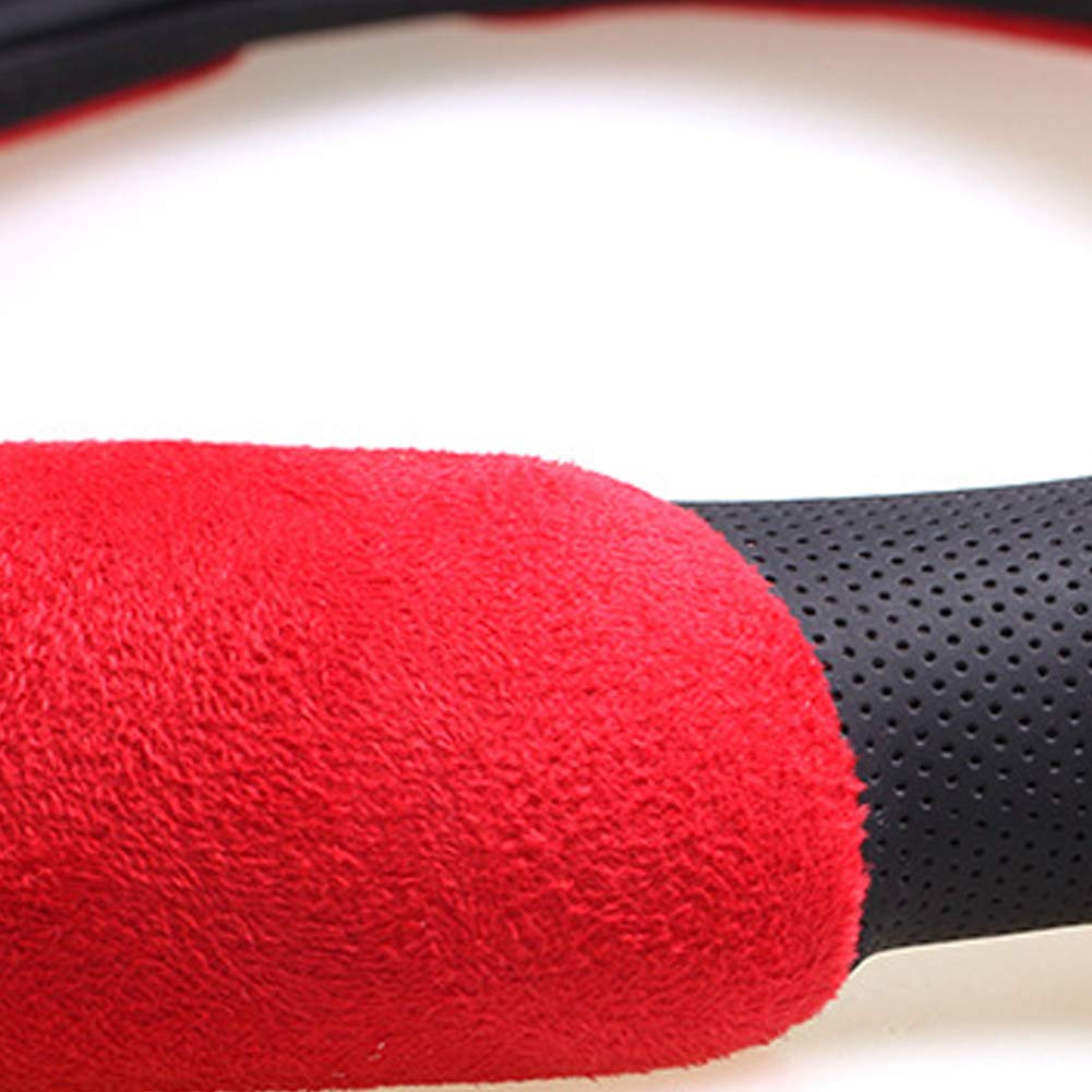 15 Winter Plush Steering Wheel Cover Warm Cover Red NaiCasy Leather Car Steering Wheel Cover Fluffy Size 38cm
