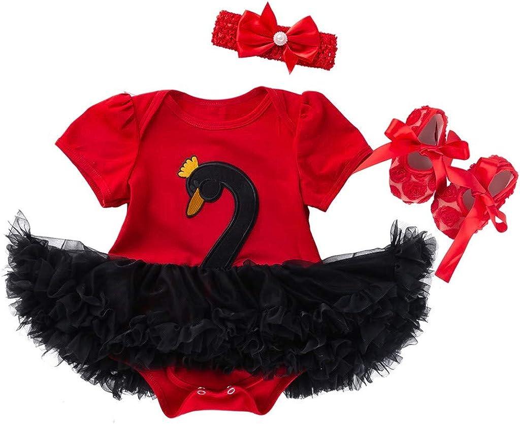 WOCACHI Toddler Baby Girl Dresses 3PCS Toddler Baby Girls Cartoon Swan Princess Dress+Headbands+Shoes Set Outfit