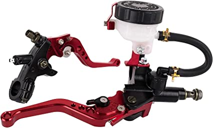 Elerose Une Paire de 22 mm CNC Moto Pompe de Frein Hydraulique Embrayage en Alliage Daluminium Poign/ée R/églable Frein Ma/ître-cylindre Dembrayage Orange