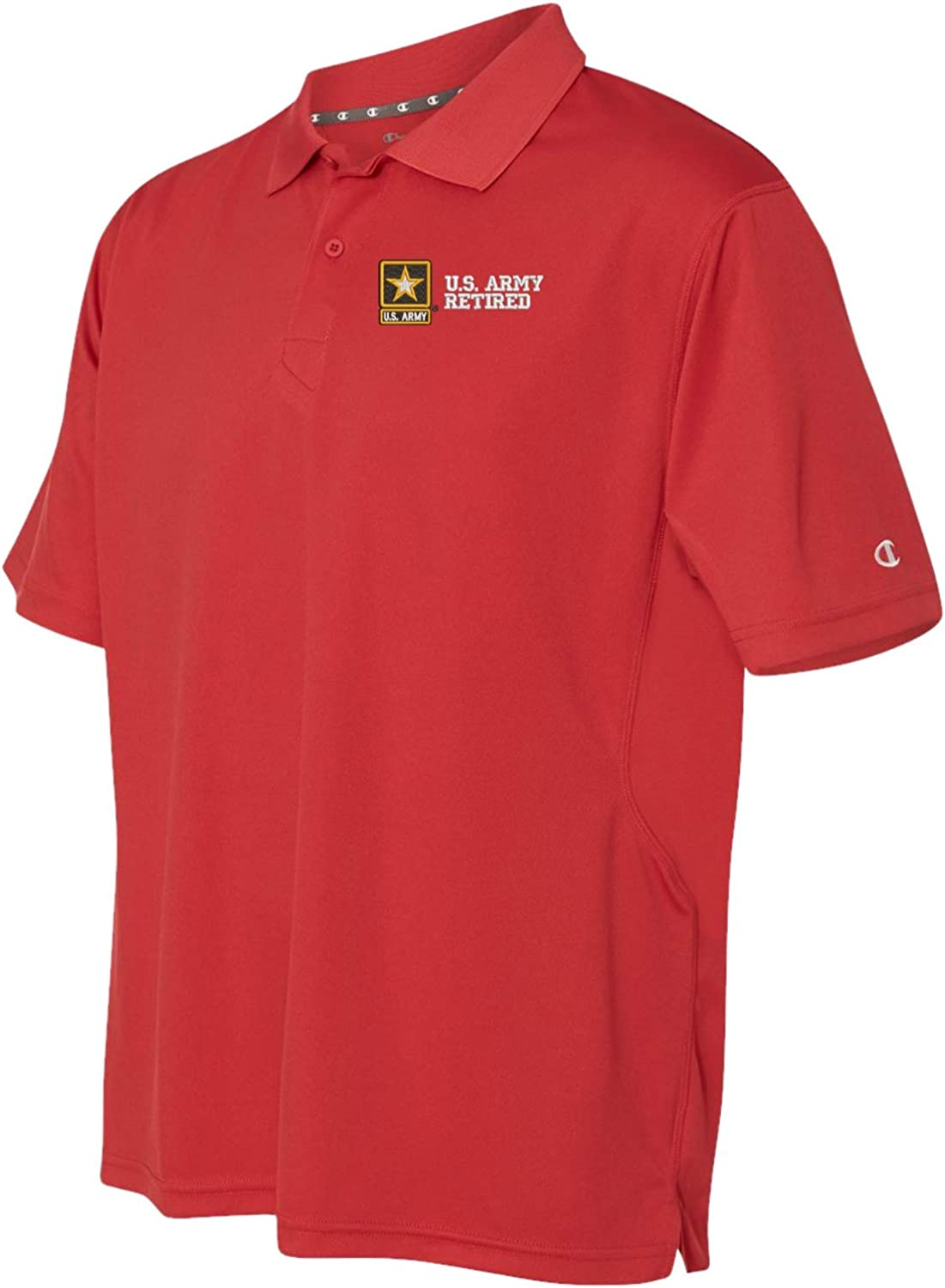 Army Retired Flag Mens Short Sleeve Polo Shirt Classic-Fit Blouse Sport Tee