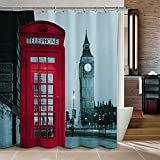 WoneNice Mold Resistant Fabric Shower Curtain With Famous City Landmark Pattern Big Ben Design,Waterproof/Water-Repellent & Antibacterial,72x72 Inches, Gifts for for Thanksgiving Day Christmas