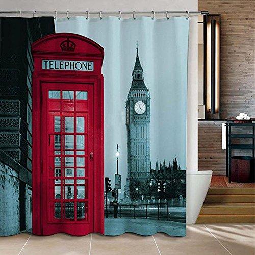 WoneNice Famous City Landmark Pattern Big Ben Fabric Shower Curtain, 72x72 Inch