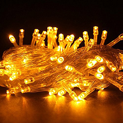 Autolizer 100 LED Yellow Fairy Lights Battery Operated String Lights Lamp for Xmas Tree Holiday Wedding Party Decoration Halloween Bedroom Decor Strings and Outdoor Home Garden - Control up to 8 Modes