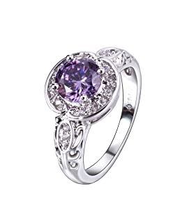 YAZILIND Temperament Silver Plated Feuilles Swirl Vine Wreath Purple Cubic Zirconia Ring for Women