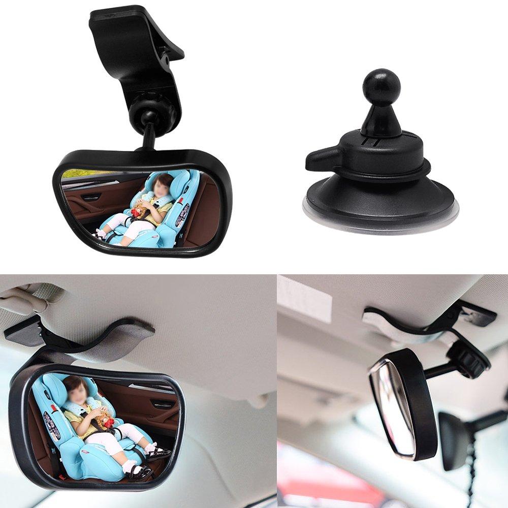 hysagtek beb/é coche Espejo Espejo posterior del coche Interior Espejo Retrovisor con 2/de montaje soportan fuerte ventosa y clip-view beb/é es seguro en la parte trasera asiento negro