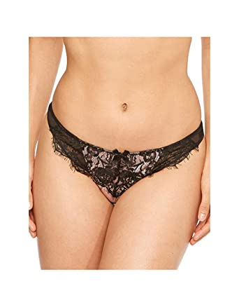 fdf18d0c5a520 Figleaves Womens Arabella Brazilian Lace & Sheer Thong Size 12 in Pink