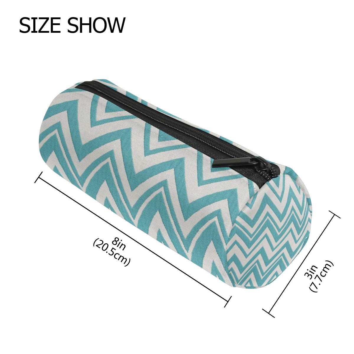 Pencil Case Teal and White Zig Zag School Pen Pouch Office Zippered Pencil Cases Holder Women Makeup Bag by KMAND (Image #2)