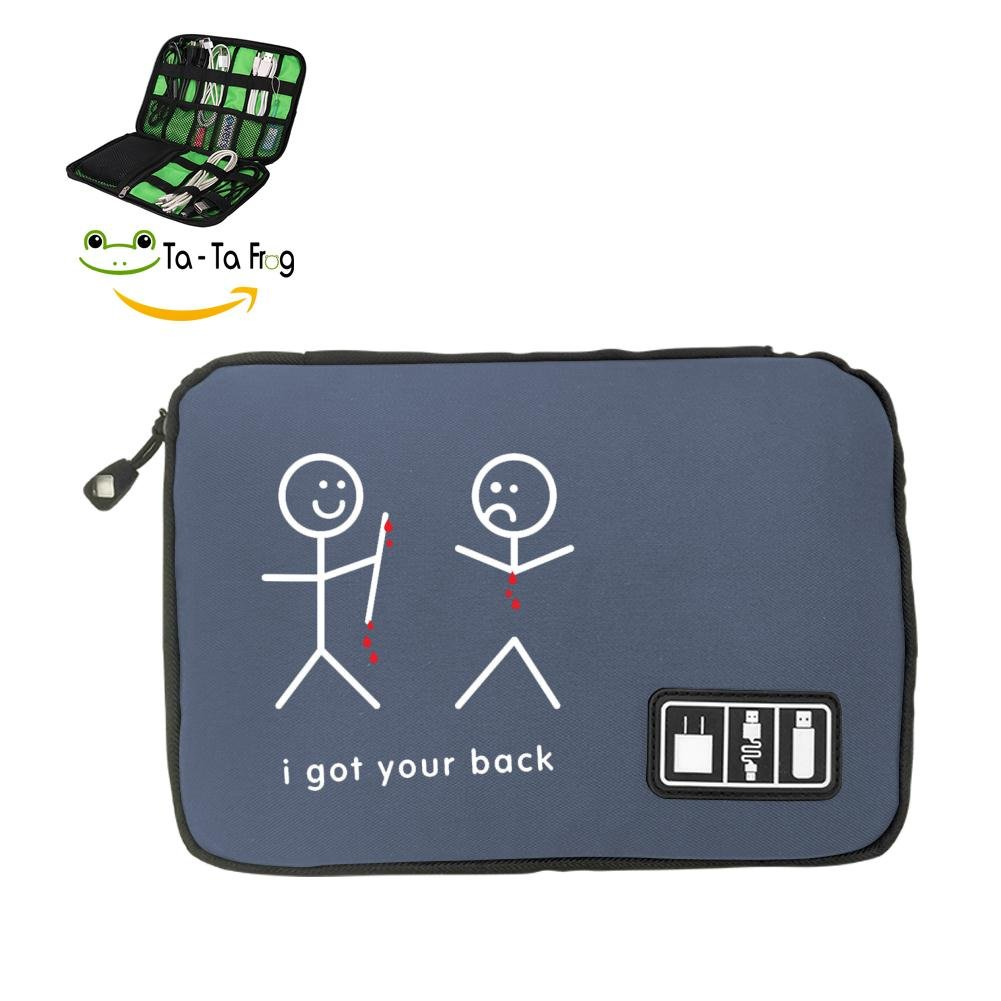 6Dian I've Got Your Back Electronics Cable Organizer Bag for Hard Drives, Cables, Charger Gray