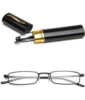 VEVESMUNDO Lesebrille Metall Klassische Scharnier Schmal Stil Brille Lesehilfe Augenoptik Vollrandbrille Mit Etui (Rot, 2.0)