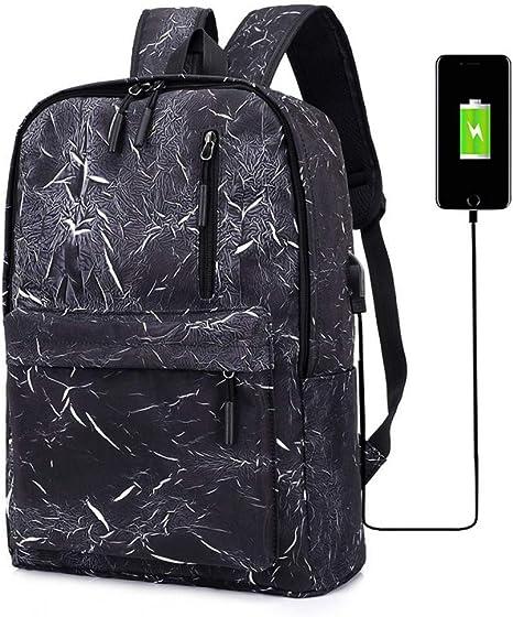 ALWYHH Mochila Impresión Hombres Mochila USB Mochila Mujeres Oxford College Laptop Bag Pack Adolescentes Niños Niñas Estudiante Mochila Grande Negro: Amazon.es: Deportes y aire libre
