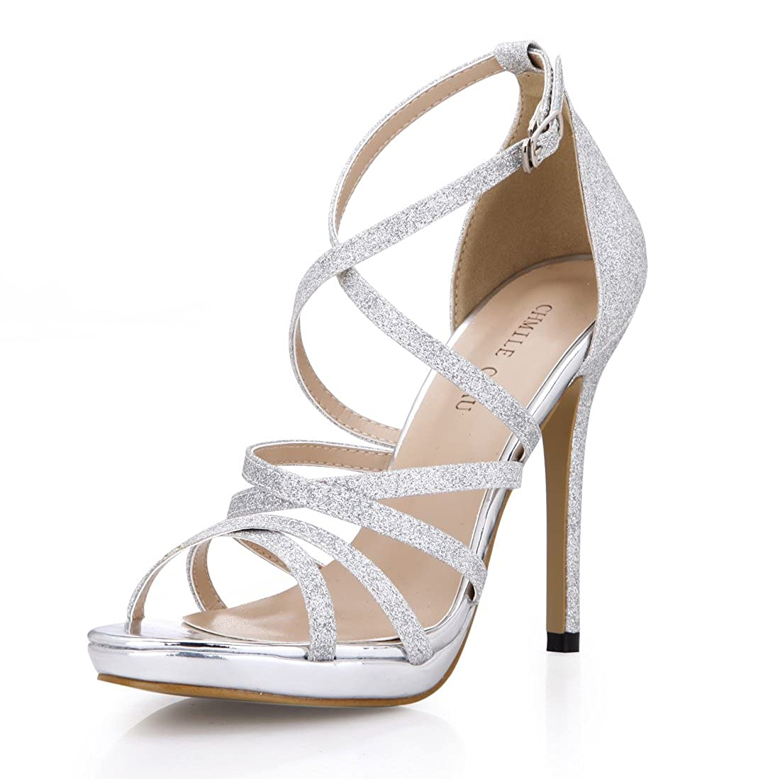 CHMILE CHAU-Scarpe da Donna-Sandali Tacco Alto a Spillo-Nuziale-Sposa-Eleganti-Moda-Partito-Cinturino alla Caviglia-Piattaforma 1cm Argento-glitter