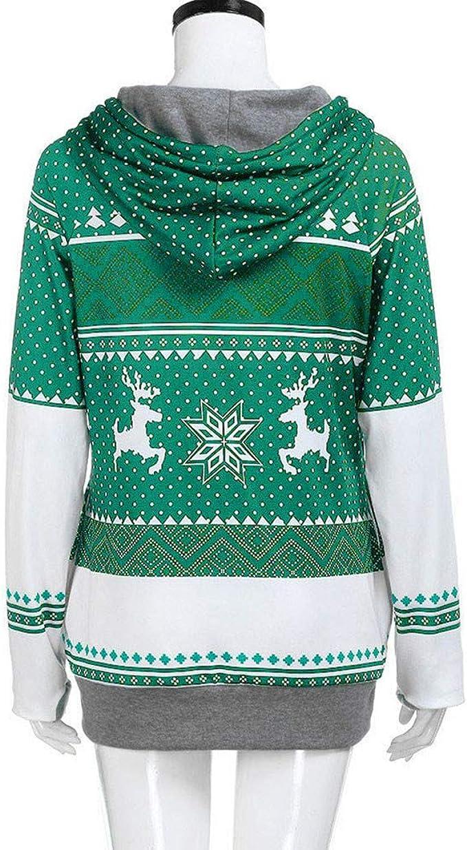 Lavany Christmas Womens Pullovers Deer Printed Long Sleeve Xmas Hoodie Sweatshirt