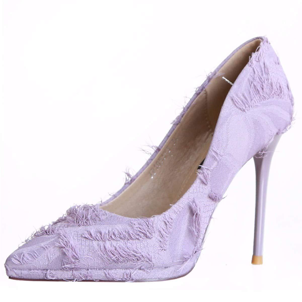 KPHY Damenschuhe/Einfache 9Cm Hochhackigen Schuhe Wies Herbst Joker Wies Schuhe Kopf Flachen Mund Schuhe Dünn Schuhe Dünnen Schuhen.39 Violet  - 4499c5